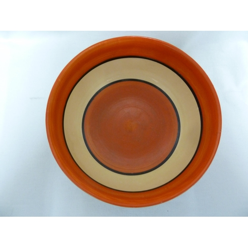 50 - Clarice Cliff-  A fantasque bowl decorated in Red Autumn pattern, the interior banded in orange and ...