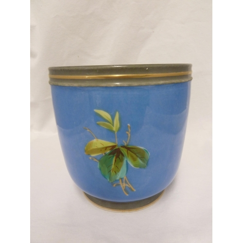 54 - Two French Porcelain cache pots - one painted with yellow roses, harebells and fuschia on a rose pin...