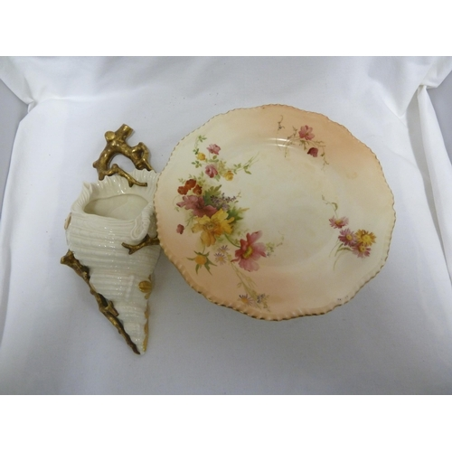 56 - A Royal Worcester shell and coral wall pocket, the coral gilded, 28cm max; and a Royal Worcester blu...