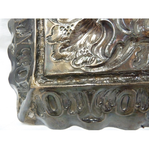 7 - A 17th Century English silver plaque, of rectangular form repousse decorated in high relief with two...