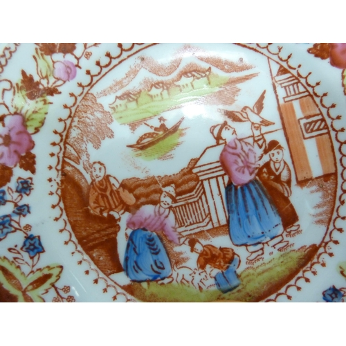 45 - An English Porcelain part tea service, printed in iron red with Chinese figures in a landscape, hand...