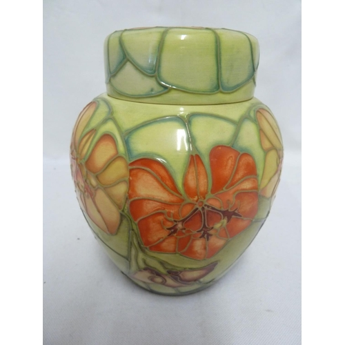 139 - Sally Tuffin for Moorcroft Pottery - a Nasturtium pattern ginger jar and cover, produced for the Moo...