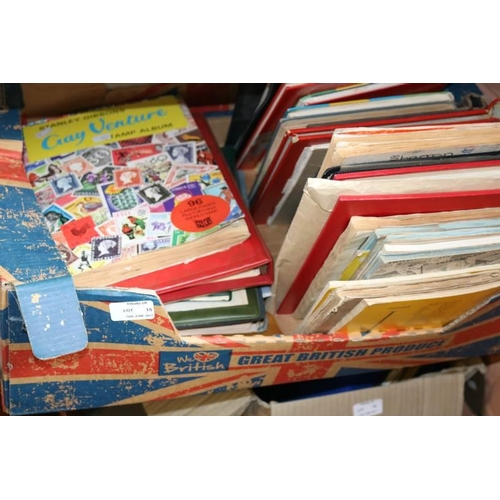 15 - A carton of assorted stamp albums and stock books GB and World.30...