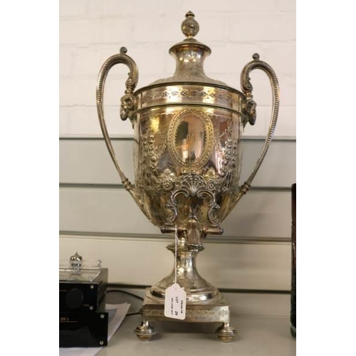 29 - A large silver plated samovar, marked on base JD & S EP 1362....