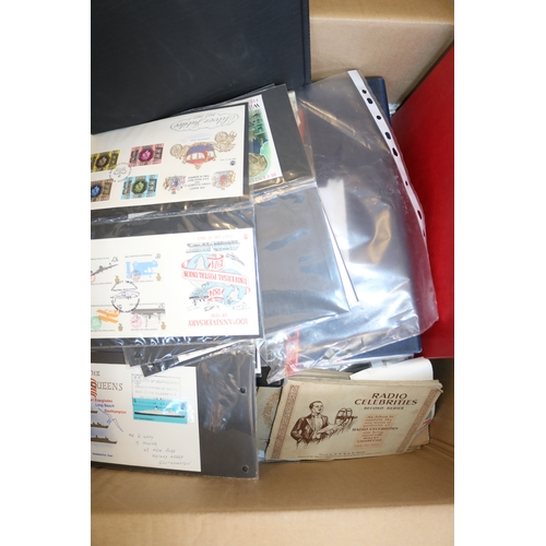 17 - Carton of FDCs, world stamps in albums together with albums of cigarette cards...