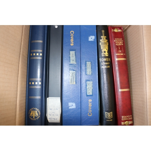 20 - Carton of albums of GB and commonwealth mint and used together with albums of FDCs...