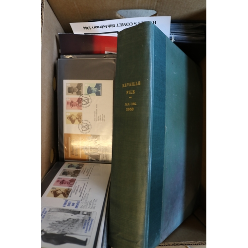 21 - Carton for sorting including presentation packs, FDCs, loose stamps and bound copies of Reveille fro...