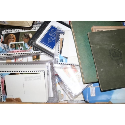 39 - Carton of Post Office Picture Cards, loose stamps, albums etc....