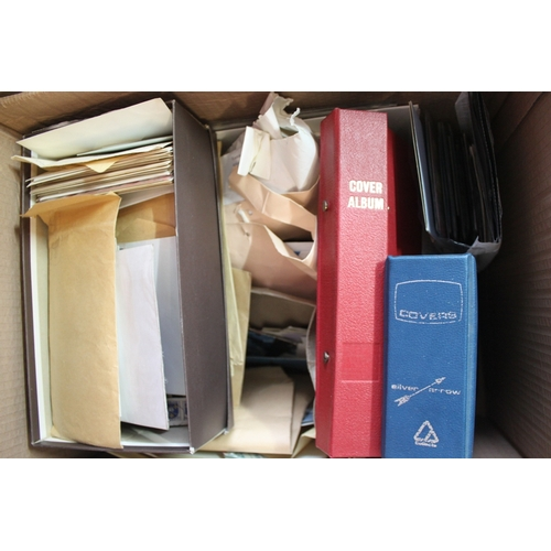 37 - Large carton of loose stamps, mint blocks, two albums of FDCs etc...