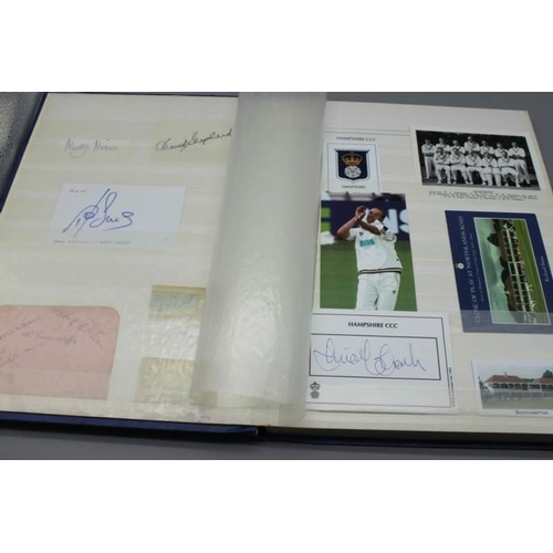 52 - A stockbook of cricketers photos and autograph signatures including Dennis Amiss, Bill Edrich, Alan ...