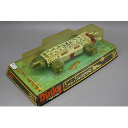 2 - Dinky toys Eagle transporter, Space 1999 model 359 discolouration to blister....