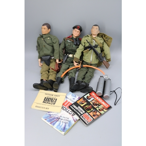 3 - Carton of assorted action man figures and accessories, clothing, weapons etc....