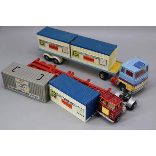 14 - Corgi major Ford Truck with trailer and containers together with a Matchbox similar....