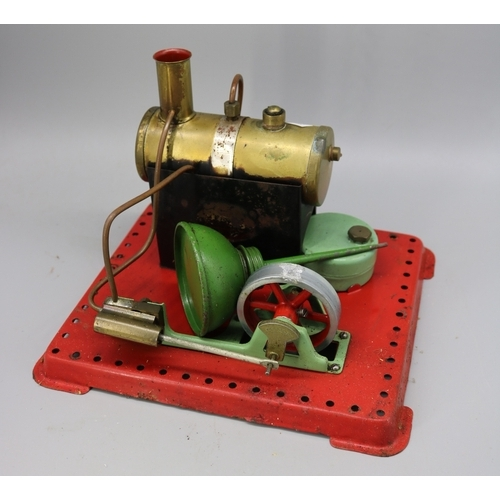 19 - Mamod stationary steam engine together with loose Meccano....