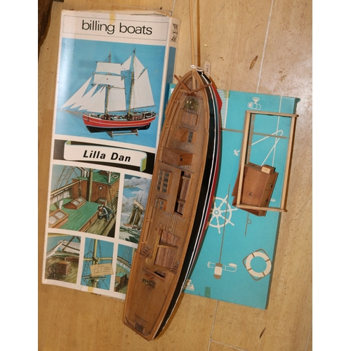 20 - Billing boats Lilla Dan kit box with paperwork with part made model (3 boxes)....