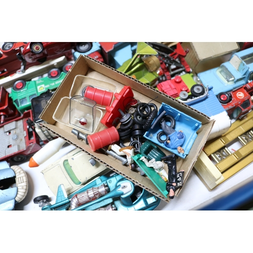 27 - Two boxes of assorted Corgi and Dinky playworn vehicles including Chipperfields, SPV and lots more. ...