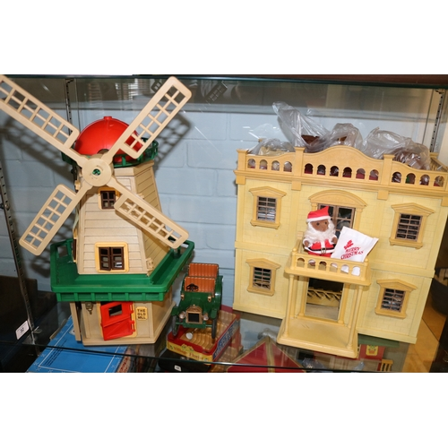 32 - Sylvanian Families windmill, mansion house and car with lots of accessories....