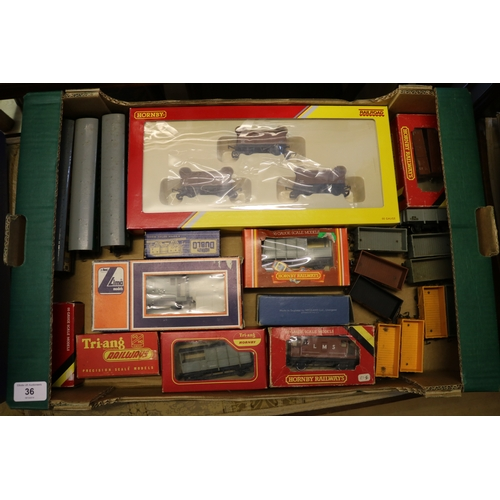 36 - Box of assorted Hornby wagons including carriages etc....