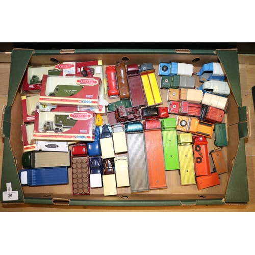 39 - Assorted carton of Dinky lorries, Corgi landrovers, boxed trackside etc....