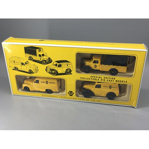 18a - A Lledo boxed diecast 3 AA vehicle set vans from the 50's....
