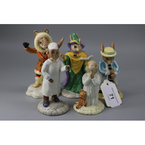 71 - Five Doulton Bunnykins figures to include Mystic, Clarinet player 2410/2500, Wee Willie, Eskimo and ...