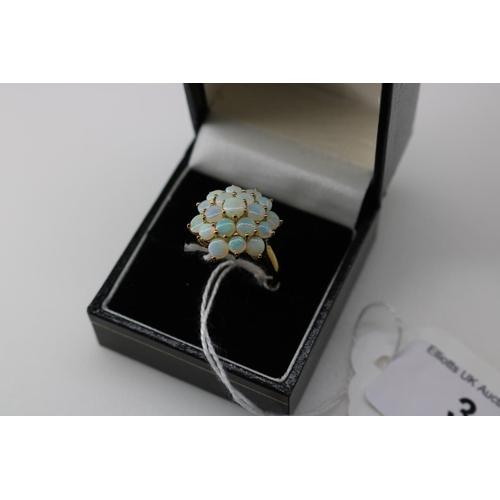 3 - A QVC 9k gold decorative dress ring approx size Q...