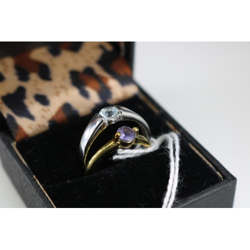 32 - 9ct QVC white gold ring together with another 9ct gold QVC dress ring approx size P/Q...