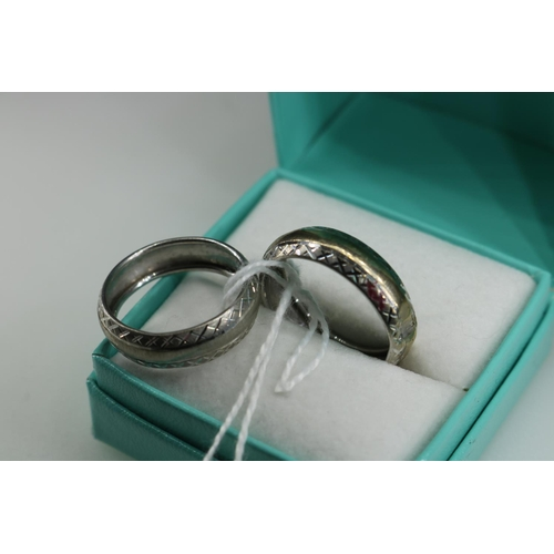 44 - 9ct gold QVC ring approx size R together with another similar approx size O...