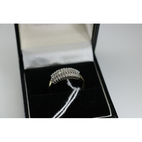 47 - QVC 9ct gold and diamond ring approx size O/P...
