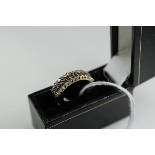 51 - 9ct gold QVC ring set with diamonds approx size P...
