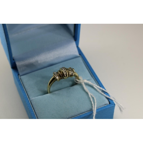 53 - 9ct gold QVC decorative ring set with diamonds approx size N/O...