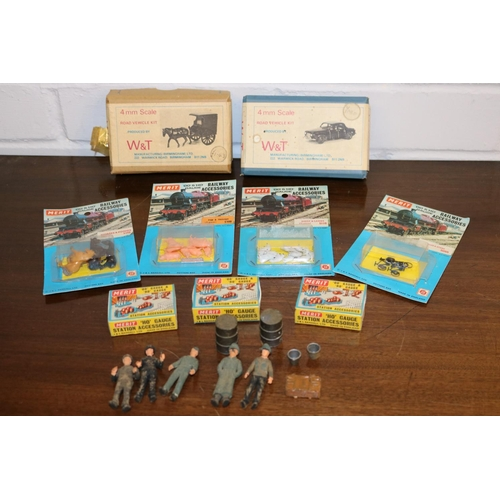 13 - W&T Road vehicle kit together with another, and Merit railway accessories, Merit station  accessorie...