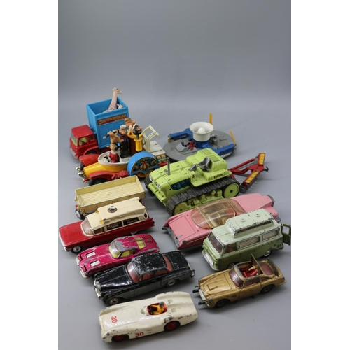 16 - A selection of Corgi playworn diecast figurines to include Popeye paddle wagon, Lady Penelope FAB1, ...