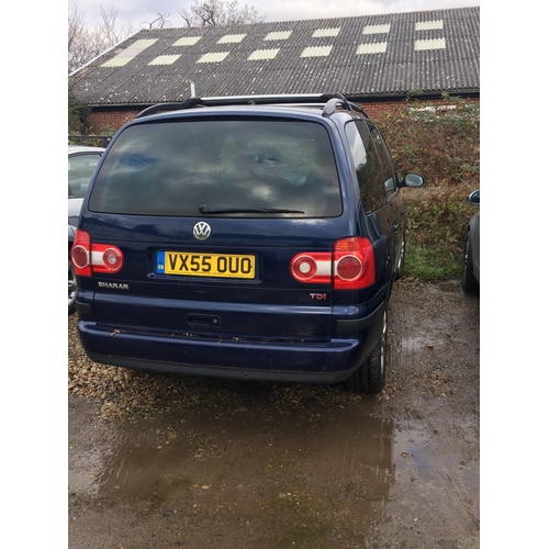 3 - A Blue VW Sharan SE TDI 130 MPV 1896cc reg VX55 OUO, Manual....