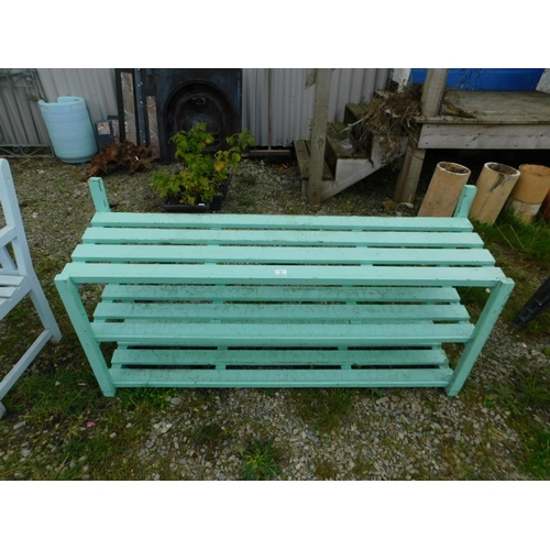 5 - Greenhouse wooden three tier plant rack...