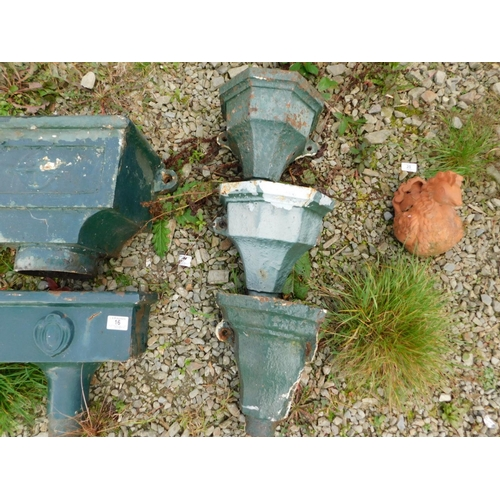 17 - Three cast iron gutter hoppers...