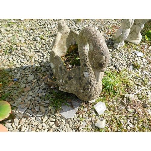 11 - Stone garden planter of a swan...