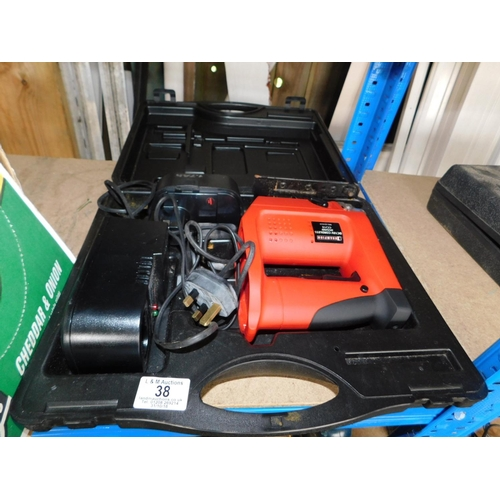 38 - Boxed DC18V Cordless jigsaw with battery and charge GWO...