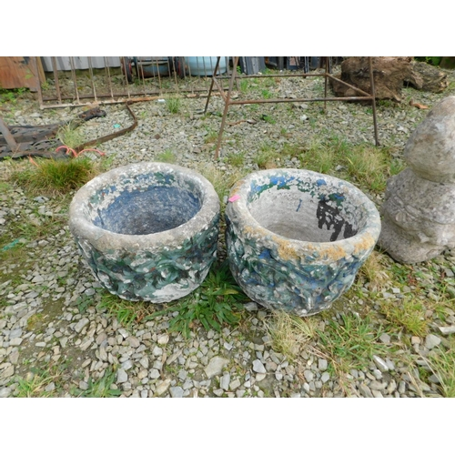 4 - Two small stone planters...