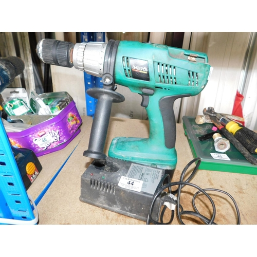 44 - Black Spur hammer drill with charger...