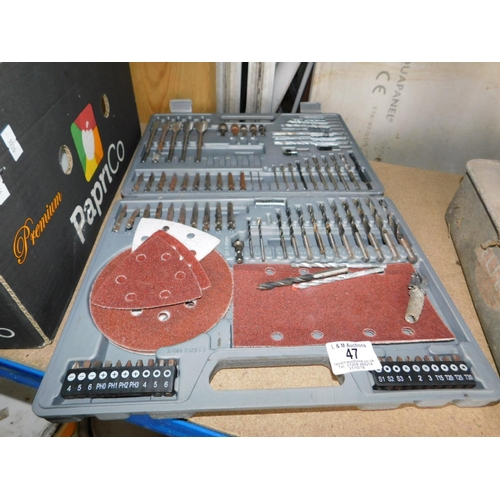 47 - Drill bit set with sanding paper...