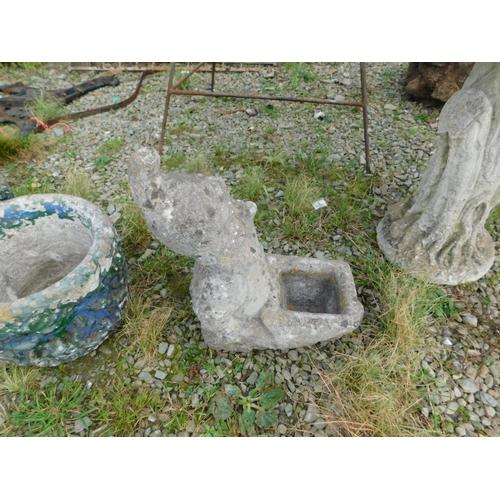 6 - Stone garden gnome planter...