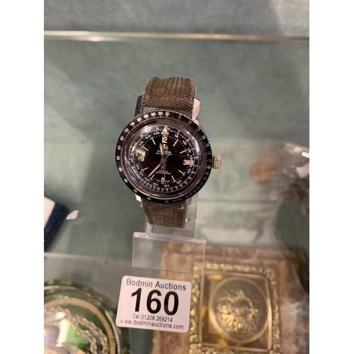 160 - O+W Ollech + Wajs Zurich Switzerland 1960's Vietnam era selectron computer wrist watch red date numb...