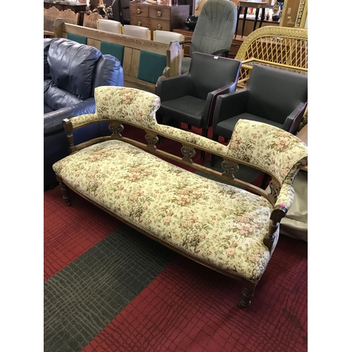 292 - Victorian style three seat settee with pierced wooden splats...