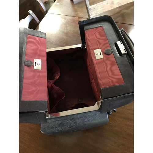 382 - Antique H. Greaves Birmingham ladies leather vanity case - monogrammed. contains most of the glass c...