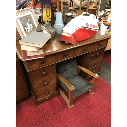 580 - Mid Victorian partners desk in mahogany...
