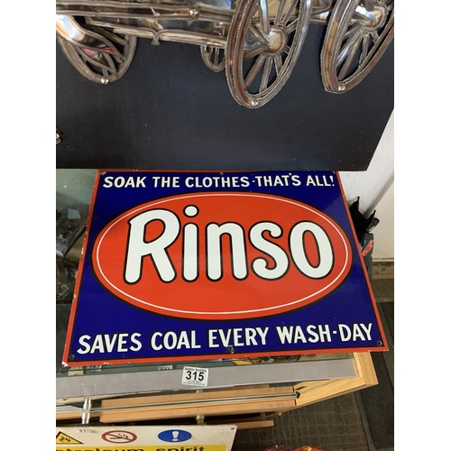 315 - Rinso enamel sign excellent condition...