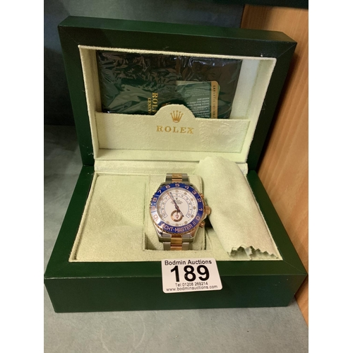 189 - Replica boxed Rolex Yachtmaster with full paperwork...