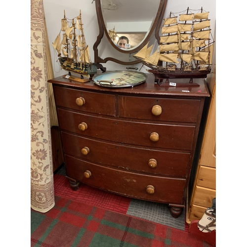 712 - Two over three stained pine Victorian chest of drawers...