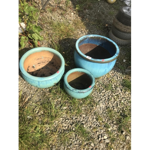 18 - 3 blue glazed terracotta plant pots...